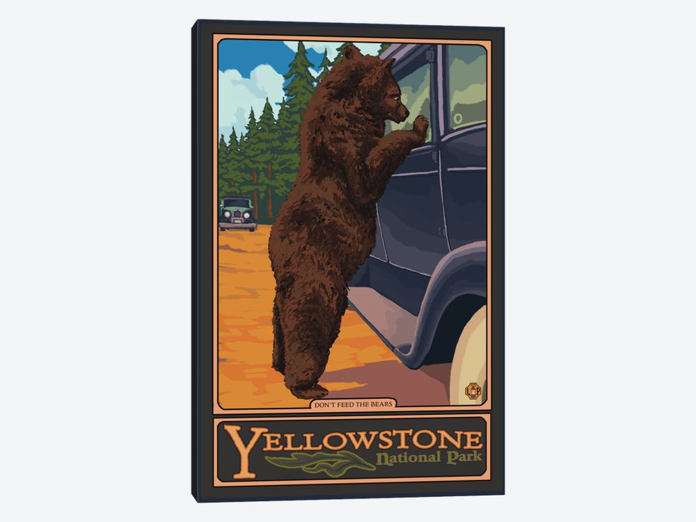 Yellowstone National Park (Hungry Grizzly Bear) by Lantern Press 1-piece Canvas Art