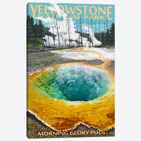 Yellowstone National Park (Morning Glory Pool) Canvas Print #LAN121} by Lantern Press Canvas Wall Art