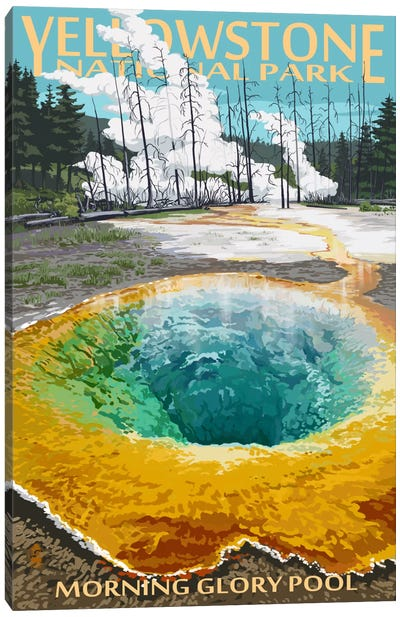Yellowstone National Park (Morning Glory Pool) by Lantern Press Canvas Art Print