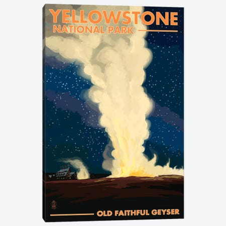 Yellowstone National Park (Old Faithful At Night) Canvas Print #LAN122} by Lantern Press Canvas Wall Art