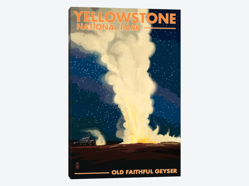 Yellowstone National Park (Old Faithful At Night) by Lantern Press 1-piece Canvas Wall Art