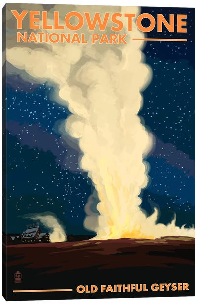 Yellowstone National Park (Old Faithful At Night) Canvas Art Print