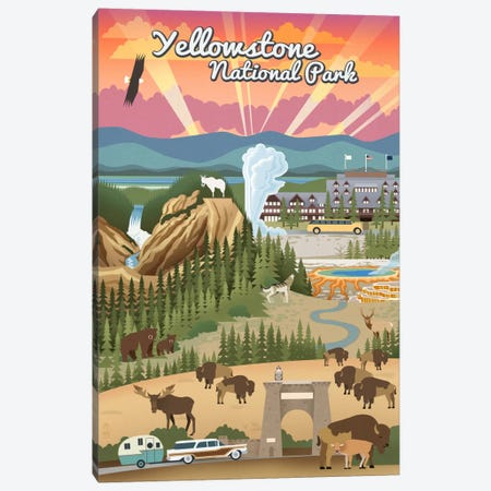 Yellowstone National Park (Retro Views) Canvas Print #LAN123} by Lantern Press Canvas Art