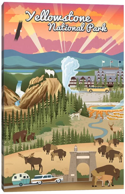 Yellowstone National Park (Retro Views) Canvas Art Print