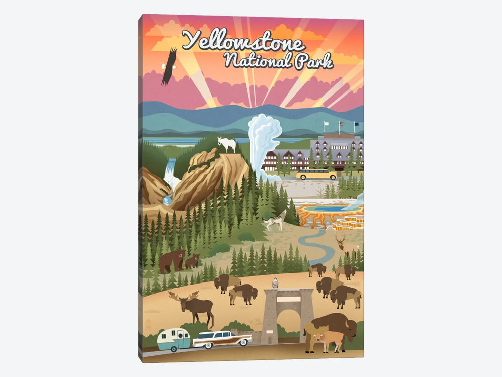 Yellowstone National Park (Retro Views) by Lantern Press 1-piece Canvas Print