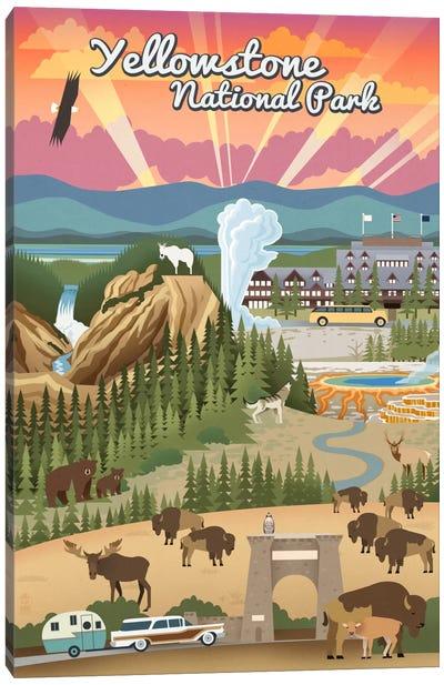 Yellowstone National Park (Retro Views) Canvas Art Print