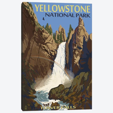 Yellowstone National Park (Tower Fall) Canvas Print #LAN124} by Lantern Press Art Print