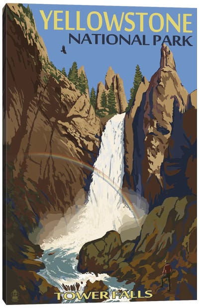 Yellowstone National Park (Tower Fall) by Lantern Press Canvas Art Print