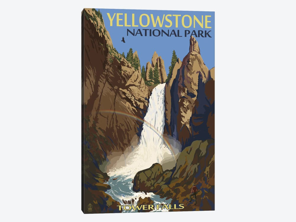 Yellowstone National Park (Tower Fall) by Lantern Press 1-piece Canvas Art
