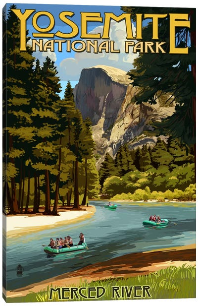 Yosemite National Park (Merced River) by Lantern Press Canvas Art Print