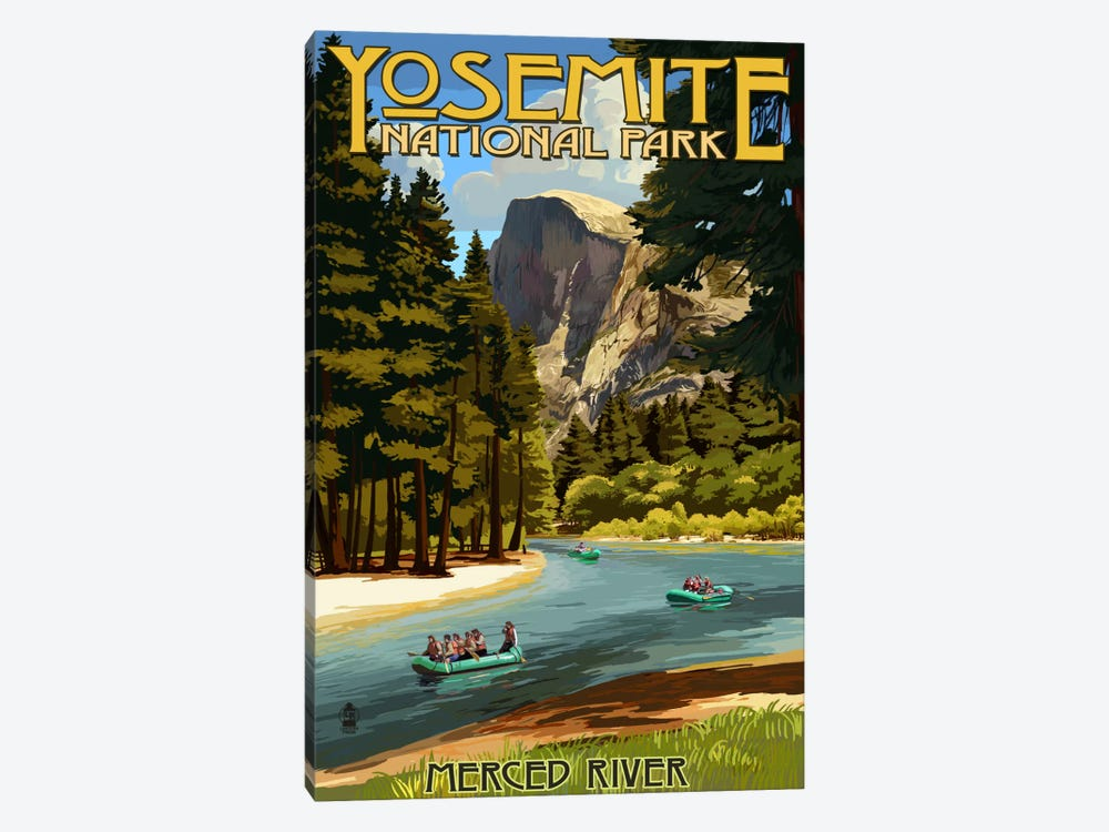 Yosemite National Park (Merced River) by Lantern Press 1-piece Canvas Art