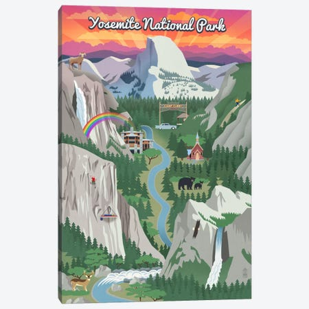 Yosemite National Park (Retro Views) Canvas Print #LAN129} by Lantern Press Canvas Wall Art