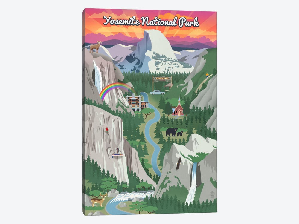 Yosemite National Park (Retro Views) by Lantern Press 1-piece Art Print