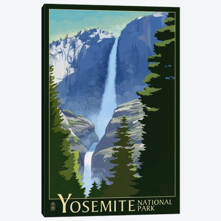 Yosemite National Park (Yosemite Falls I) Canvas Print #LAN130} by Lantern Press Art Print