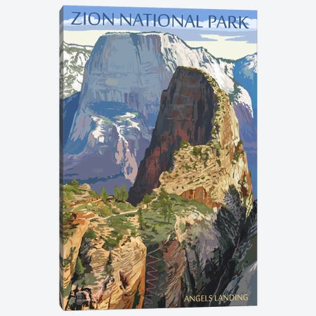 Zion National Park (Angels Landing I) Canvas Print #LAN132} by Lantern Press Canvas Print