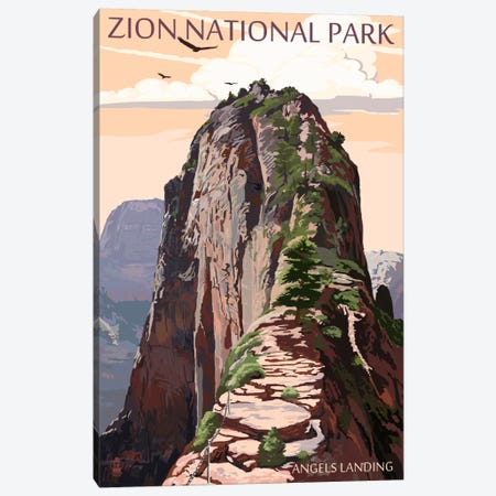 Zion National Park (Angels Landing II) Canvas Print #LAN133} by Lantern Press Canvas Art Print