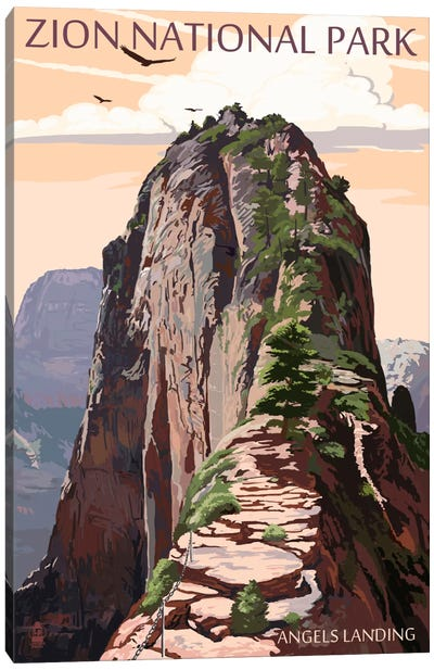 Zion National Park (Angels Landing II) by Lantern Press Canvas Art Print