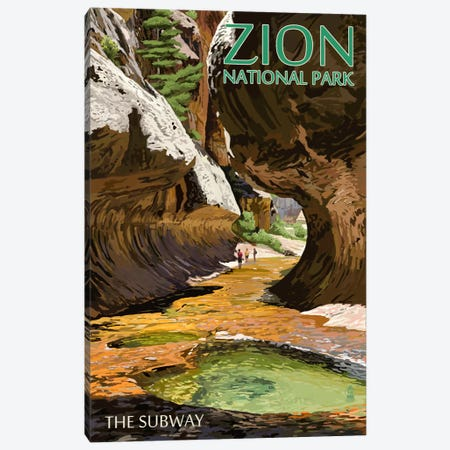 Zion National Park (The Subway) Canvas Print #LAN134} by Lantern Press Canvas Wall Art