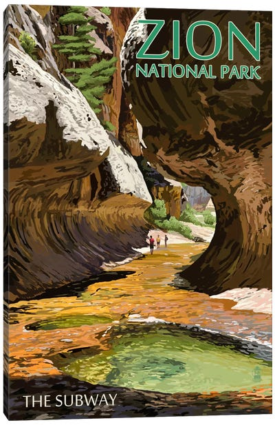 Zion National Park (The Subway) Canvas Art Print