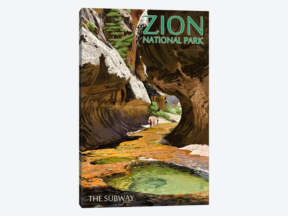 Zion National Park (The Subway) by Lantern Press 1-piece Canvas Art Print