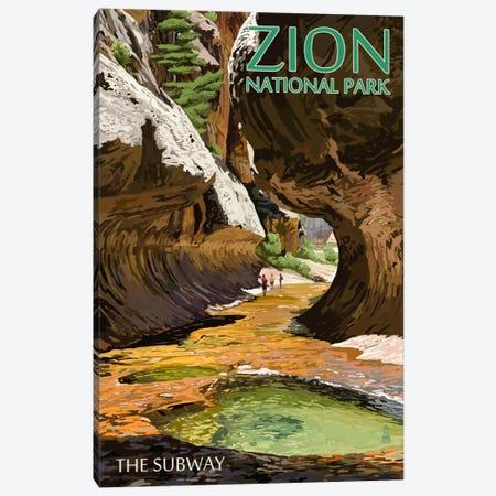 Zion National Park (The Subway) Canvas Print #LAN134} by Lantern Press Canvas Wall Art