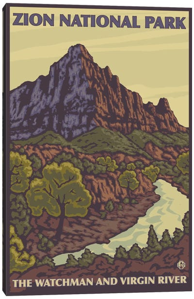 U.S. National Park Service Series: Zion National Park (The Watchman & Virgin River) Canvas Print #LAN135