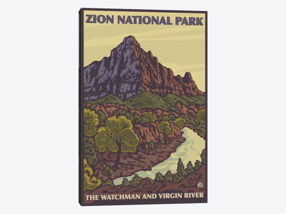 Zion National Park (The Watchman & Virgin River) by Lantern Press 1-piece Canvas Wall Art