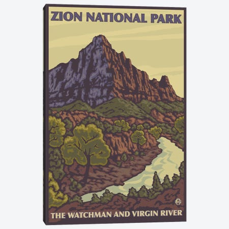 Zion National Park (The Watchman & Virgin River) Canvas Print #LAN135} by Lantern Press Canvas Art