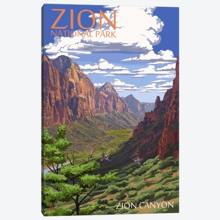 Zion National Park (Zion Canyon) Canvas Print #LAN136} by Lantern Press Canvas Artwork