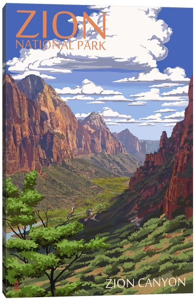 Zion National Park (Zion Canyon) by Lantern Press Canvas Art Print