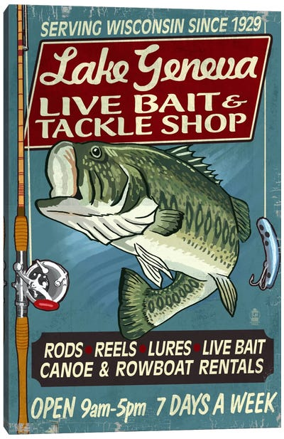 Vintage Tackle Shop Series: Lake Geneva, Wisconsin Canvas Print #LAN139