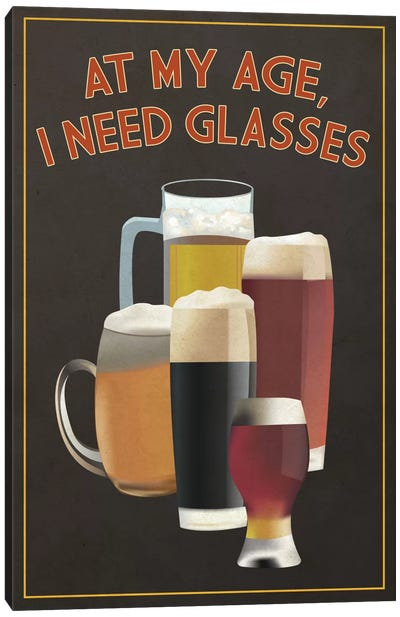 Witty Beer Series: I Need Glasses Canvas Art Print