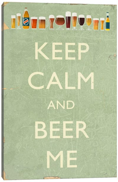 Witty Beer Series: Keep Calm Canvas Art Print
