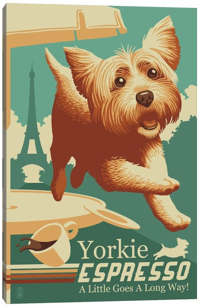 Yorkie Espresso Canvas Art Print