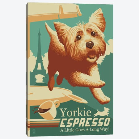 Yorkie Espresso Canvas Print #LAN151} by Lantern Press Art Print