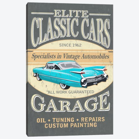 Elite Classic Cars Garage 3-Piece Canvas #LAN16} by Lantern Press Canvas Print