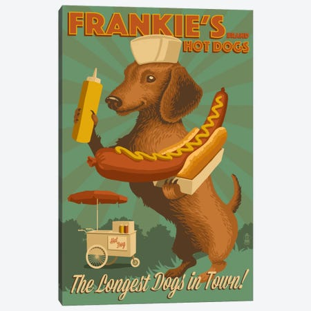 Frankie's Brand Hot Dogs Canvas Print #LAN18} by Lantern Press Canvas Art