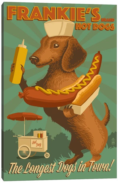 Frankie's Brand Hot Dogs Canvas Print #LAN18