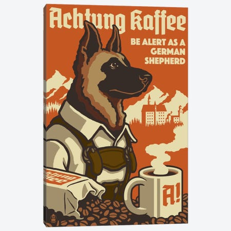 Achtung Kaffee Canvas Print #LAN1} by Lantern Press Canvas Wall Art