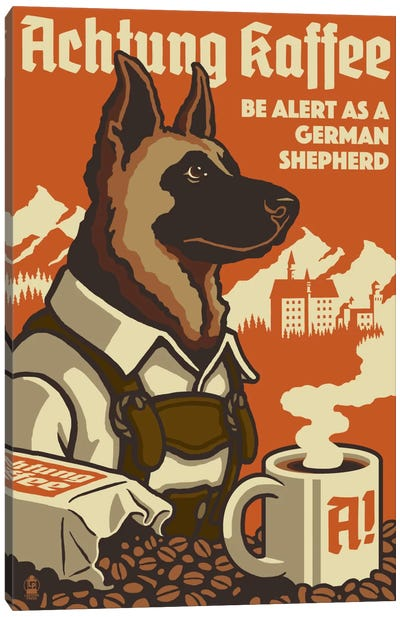 Achtung Kaffee by Lantern Press Canvas Art Print