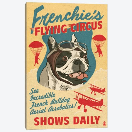 Frenchie's Flying Circus Canvas Print #LAN20} by Lantern Press Art Print