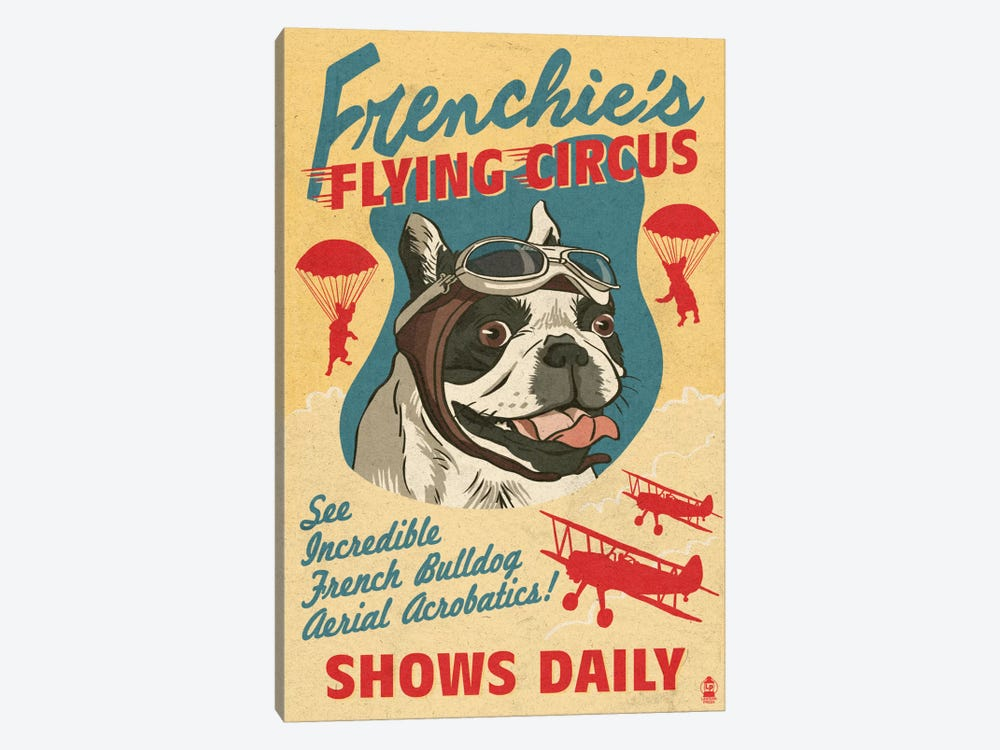 Frenchie's Flying Circus by Lantern Press 1-piece Canvas Print