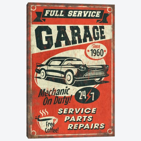 Full Service Garage Sign Canvas Print #LAN21} by Lantern Press Art Print