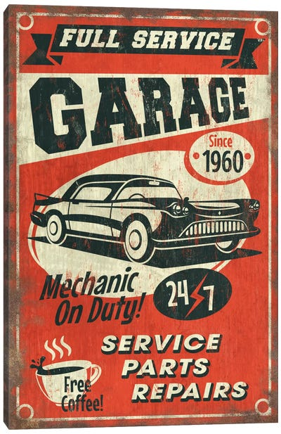 Full Service Garage Sign Canvas Art Print