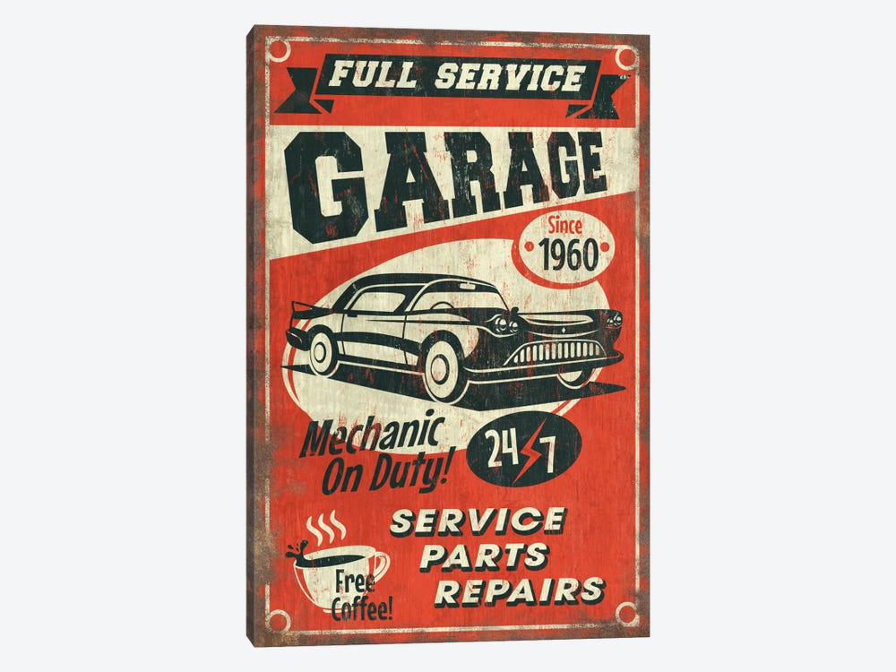 Full Service Garage Sign by Lantern Press 1-piece Canvas Wall Art