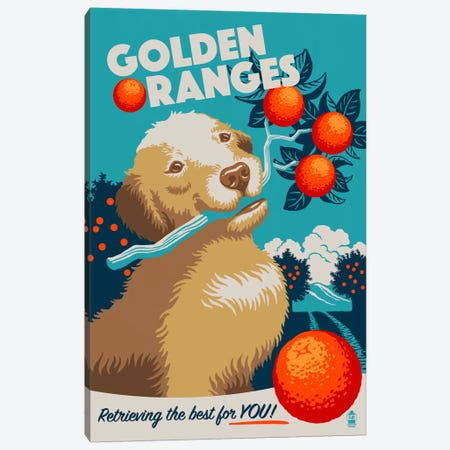 Golden Oranges Canvas Print #LAN22} by Lantern Press Canvas Print