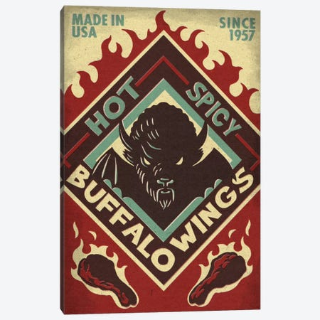 Hot & Spicy Buffalo Wings Canvas Print #LAN23} by Lantern Press Art Print