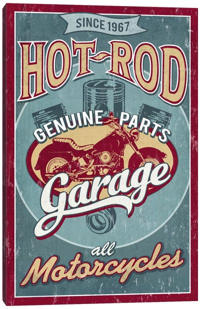 Hot Rod Garage I (Motorcycles) Canvas Art Print