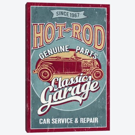 Hot Rod Garage II (Automobiles) Canvas Print #LAN25} by Lantern Press Canvas Wall Art