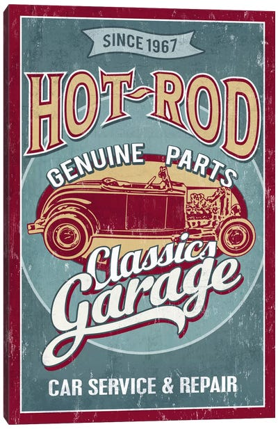 Hot Rod Garage II (Automobiles) Canvas Print #LAN25